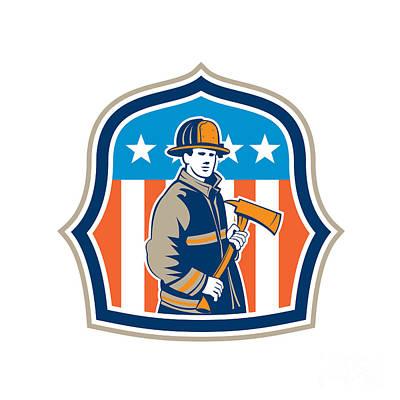 Flag Pole Digital Art - American Fireman Firefighter Fire Axe Shield by Aloysius Patrimonio