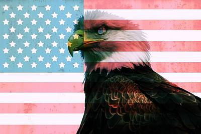 American Flag And Bald Eagle Print by Dan Sproul