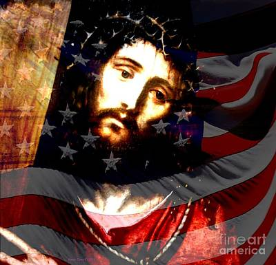 Painting - American Flag And Jesus Christ by Annie Zeno