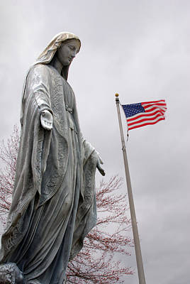 American Flag And Our Lady Of Grace Fairview Cemetery Jasper Indiana 2008 Original by John Hanou