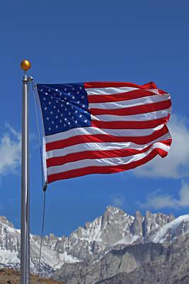 American Flag And Snow On Sierra Nevada Art Print by David Wall