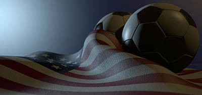 Landmarks Royalty Free Images - American Flag And Soccer Ball Royalty-Free Image by Allan Swart