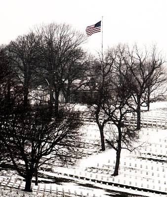 American Flag At Leavenworth National Cemetery  Art Print by Chris Berry