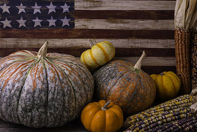 Gourds Photograph - American Flag Autumn Still Life by Garry Gay