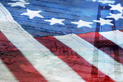 Mixed Media - American Flag by Christina Rollo