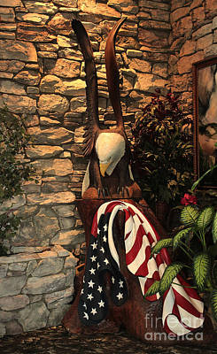 Photograph - American Flag And Eagle Wood Carving by Marjorie Imbeau
