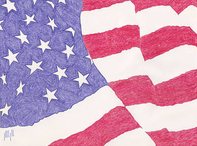 Flag Of Usa Drawing - American Flag by Eric Forster