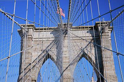 American Flag Flying Over Brooklyn Art Print