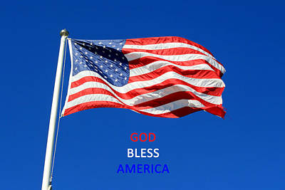 Art Print featuring the photograph American Flag - God Bless America by Barbara West