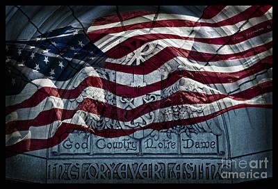 Catholic University Photograph - American Flag God Country Notre Dame Go Irish by John Stephens
