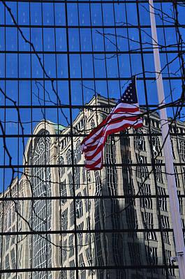 American Flag Half Staff - Copley Sq Boston Art Print by Mike Martin