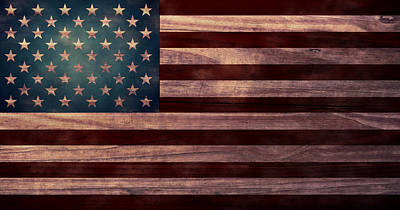 Folk Art Digital Art - American Flag I by April Moen