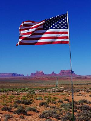 Photograph - American Flag In Monument Valley by Dany Lison
