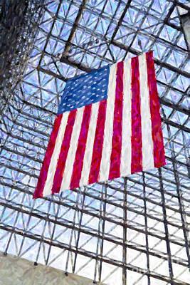 Digital Art - American Flag In The Kennedy Library Botson by Liz Leyden