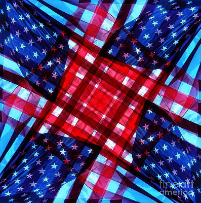 Digital Art - American Flag Kaleidoscope by D Hackett