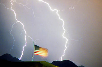 Patriot Photograph - American Flag Lightning Strikes by James BO  Insogna