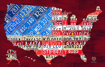 Handmade Mixed Media - American Flag Map Of The United States In Vintage License Plates by Design Turnpike