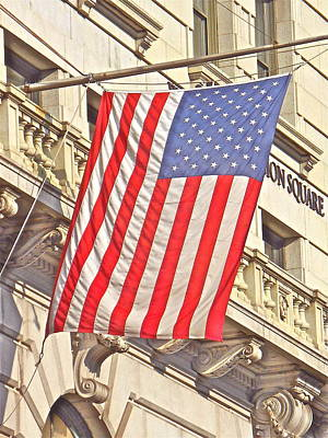 Photograph - American Flag N.y.c 1 by Joan Reese