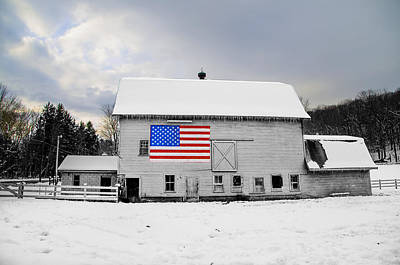 Pennsylvania Barn Digital Art - American Flag On A Pennsylvania Barn by Bill Cannon