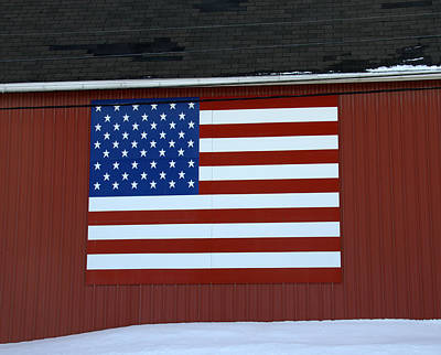 Photograph - American Flag On Barn by Linda Rae Cuthbertson