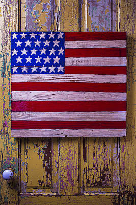 American Flag On Old Door Art Print by Garry Gay