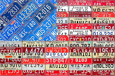 Recycle Mixed Media - American Flag Recycled License Plate Art by Design Turnpike