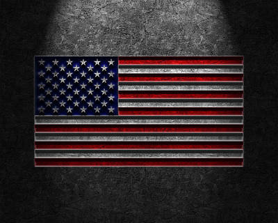 Print featuring the digital art American Flag Stone Texture by Brian Carson