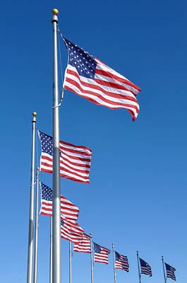 American Flag Waving In The Wind Art Print