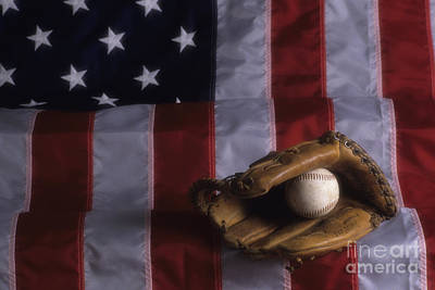 Photograph - American Flag With Baseball Mitt And Baseball by Jim Corwin