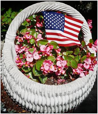 Photograph - American Flag With Flowers by Joan Reese