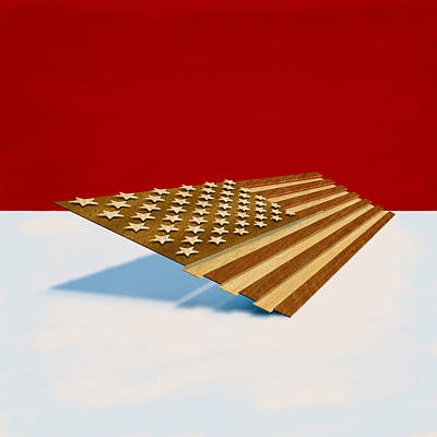 Folk Art Digital Art - American Flag Wood by Yo Pedro