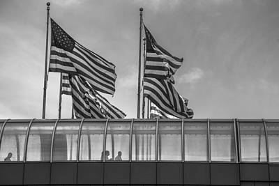 Photograph - American Flags At Renaissance Center In Detroit by John McGraw
