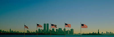 In A Row Photograph - American Flags In A Row, New York City by Panoramic Images