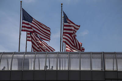 Photograph - American Flags In Detroit  by John McGraw