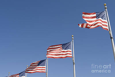 Abstract Male Faces - American flags by Patricia Hofmeester