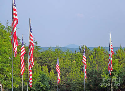 Photograph - American Flags With Kennesaw Mountain In Background by Renee Trenholm