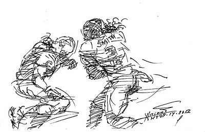 American Drawing - American Football 1 by Ylli Haruni
