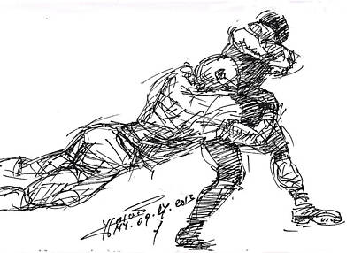 American Football Drawing - American Football 2 by Ylli Haruni