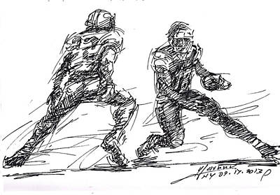 American Drawing - American Football 3 by Ylli Haruni