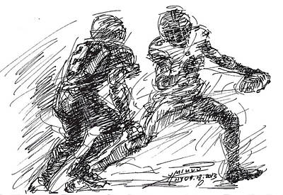American Drawing - American Football 4 by Ylli Haruni