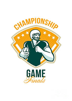 American Football Championship Game Finals Crest Art Print