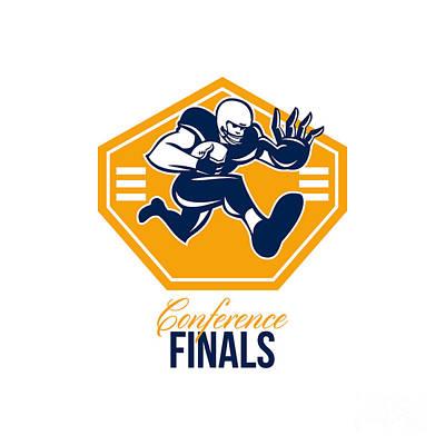 Tailback Digital Art - American Football Conference Finals Shield Retro by Aloysius Patrimonio