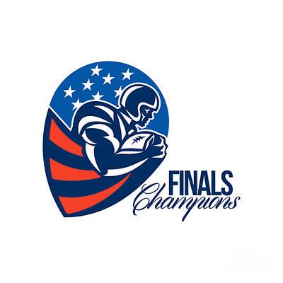 Tailback Digital Art - American Football Finals Champions Retro by Aloysius Patrimonio