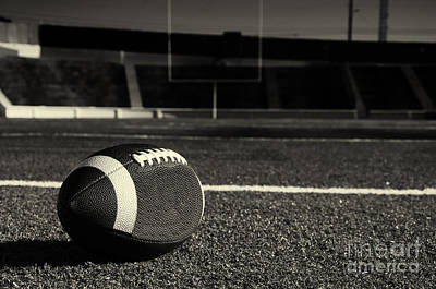 Black And White Photograph - American Football On Field by Danny Hooks