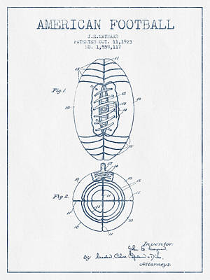 American Football Drawings Drawing - American Football Patent Drawing From 1923 - Blue Ink by Aged Pixel