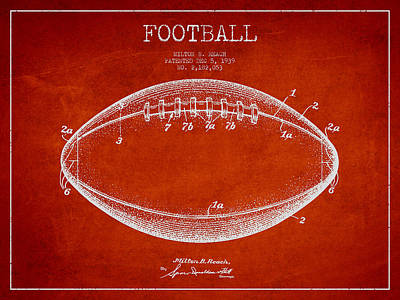 American Football Drawings Drawing - American Football Patent Drawing From 1939 by Aged Pixel
