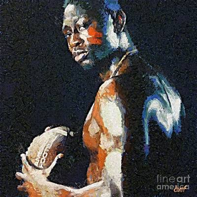Sport Painting - American Football Player by Dragica  Micki Fortuna