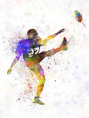 American Football Painting - American Football Player Man Kicker Kicking by Pablo Romero
