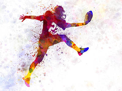 Playing Football Painting - American Football Player Man Scoring Touchdown by Pablo Romero