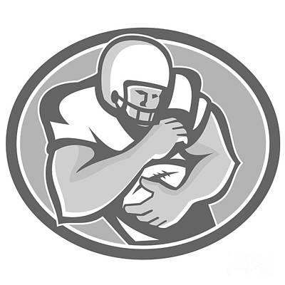 Halfback Digital Art - American Football Player Oval Grayscale by Aloysius Patrimonio